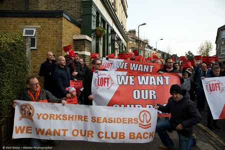 Leyton Orient and Blackpool fans gather before the march